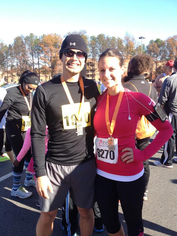 Aaron hewitt PA orthocarolina and wife Running Partners