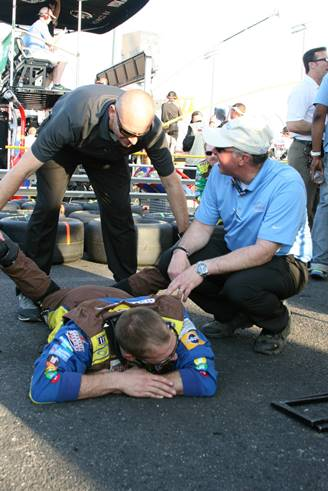 Dr. Bill helping during the NASCAR races