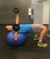 Single-arm Chest press while on ball