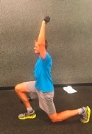 Reverse lunges with arms high