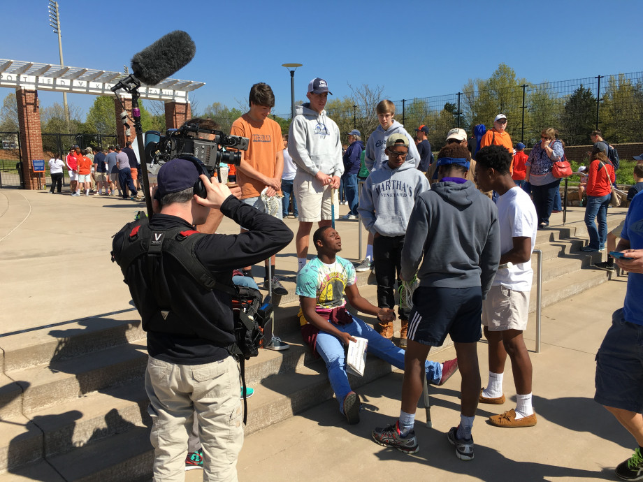 An ESPN documentary crew with the Charlotte Secondary School lacrosse team