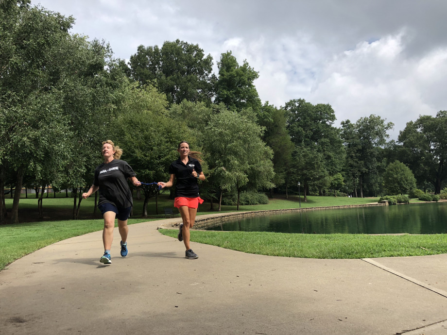 Julie running at Freedom Park with Para Guide co-founder Shannon Houlihan