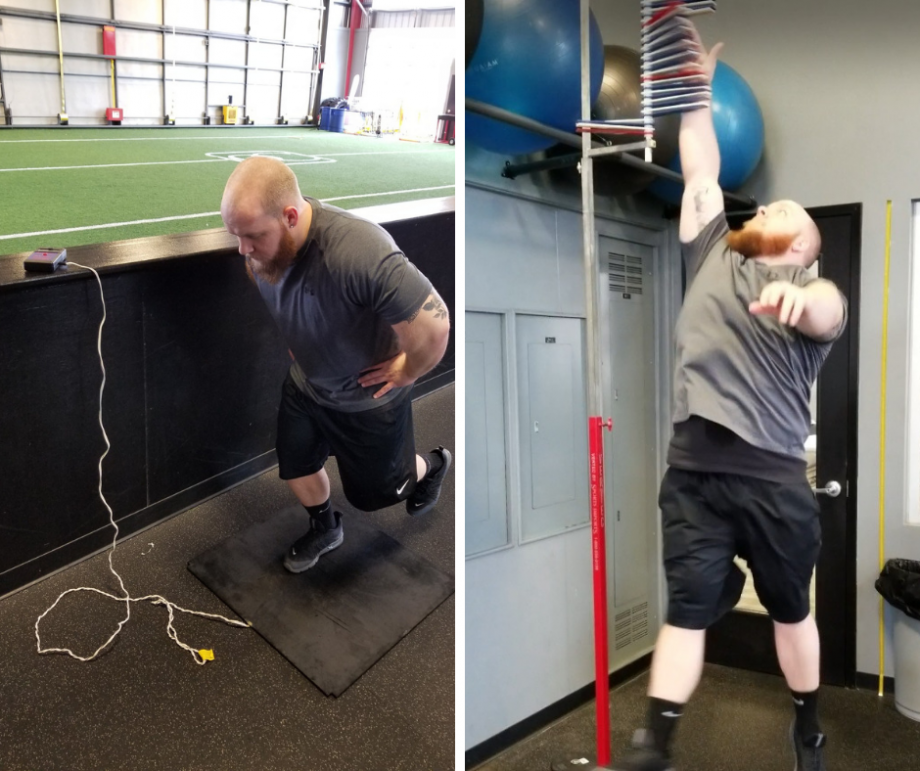 Left: Vertical jump using a force plate. Right: Vertical jump using a Vertec.